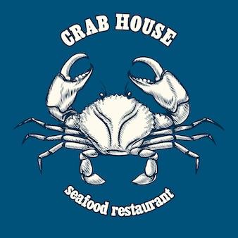 Plantilla de logotipo de restaurante de mariscos con cangrejo.