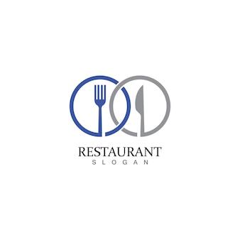 Plantilla de logotipo de restaurante de tenedor y cuchara