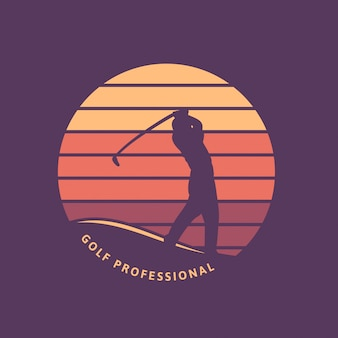 Plantilla de logotipo retro vintage profesional de golf con silueta y puesta de sol