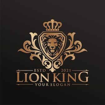 Plantilla de logotipo de rey león de lujo
