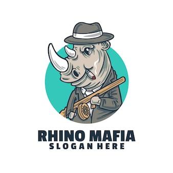 Plantilla de logotipo de rinoceronte mafia
