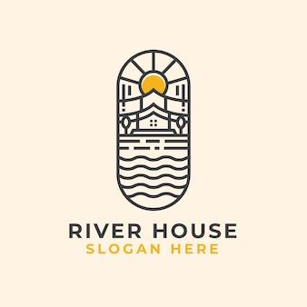 Plantilla de logotipo de river house lineart