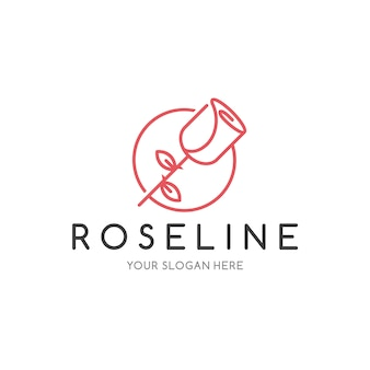Plantilla de logotipo de rose line