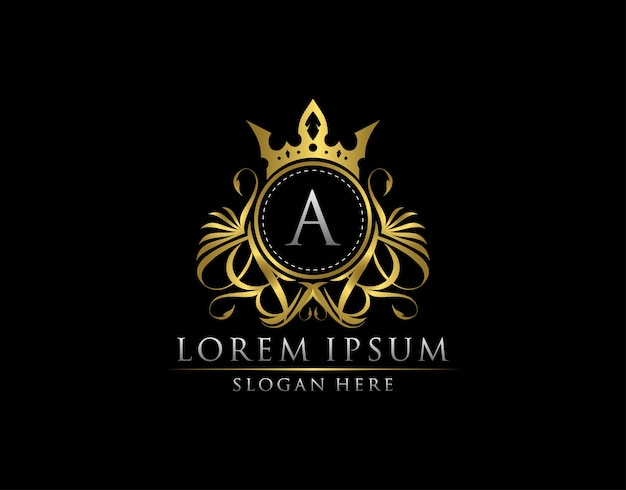 Plantilla de logotipo de royal king a letter crest gold