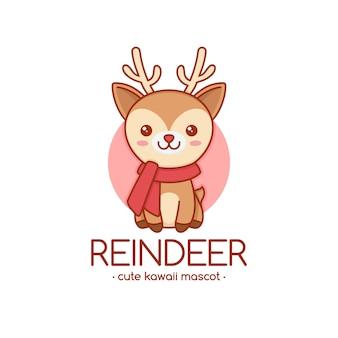 Plantilla de logotipo de rudolph reindeer