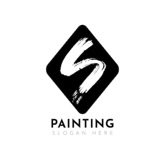 Plantilla de logotipo s pintado a mano