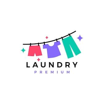 Plantilla de logotipo de secado de ropa de lavandería
