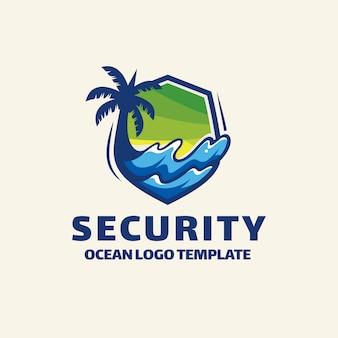 Plantilla de logotipo de seguridad moderno verano