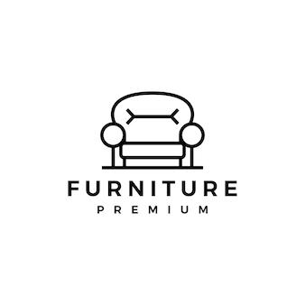 Plantilla de logotipo de silla interior de muebles de sofá