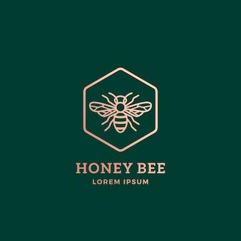 Plantilla de logotipo, símbolo o signo abstracto de abeja de miel premium.