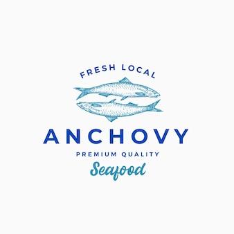 Plantilla de logotipo, símbolo o signo abstracto de anchoa local fresca.