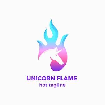 Plantilla de logotipo, símbolo o signo abstracto de llama de unicornio.