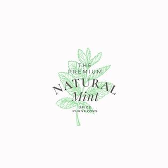 Plantilla de logotipo, símbolo o signo abstracto de menta natural premium.