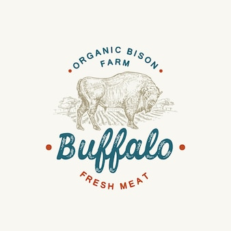 Plantilla de logotipo, símbolo o signo de vector abstracto de ganado de búfalo orgánico