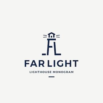 Plantilla de logotipo, símbolo o signo de vector abstracto de luz lejana.