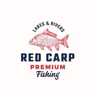 Plantilla de logotipo, símbolo o signo de vector abstracto de pesca premium