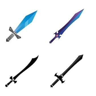 Plantilla de logotipo de símbolo de vector de elemento de juego de espada