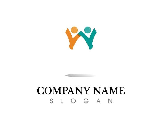 Plantilla de logotipo y símbolos de cuidado de la gente de éxito de salud