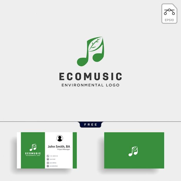 Plantilla de logotipo simple de música símbolo hoja naturaleza