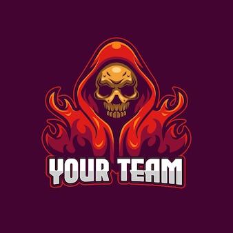 Plantilla de logotipo de skull esports