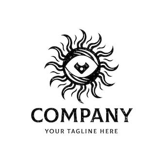 Plantilla de logotipo de sol de ojo antiguo