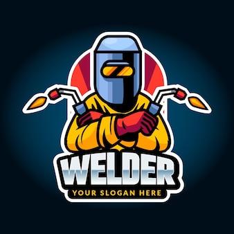 Plantilla de logotipo de soldador detallada