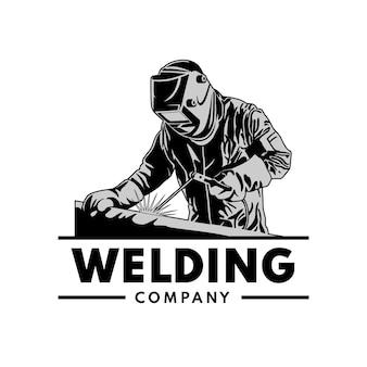 Plantilla de logotipo con un soldador con detalles.