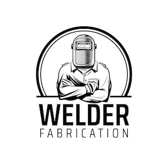 Plantilla de logotipo de soldador con detalles