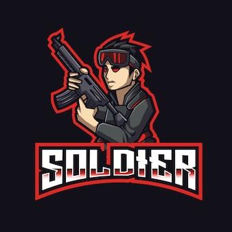 Plantilla de logotipo de soldier esport
