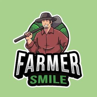 Plantilla de logotipo de sonrisa de granjero