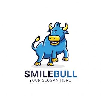 Plantilla de logotipo de sonrisa toro