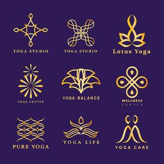 Plantilla de logotipo de spa dorado, diseño de lujo de bienestar para el conjunto de vectores de negocios de salud y bienestar