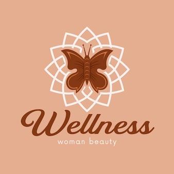Plantilla de logotipo de spa de flor de mariposa aislada en beige