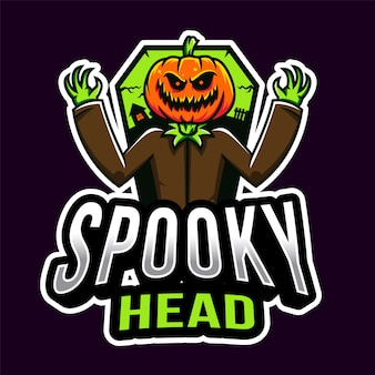 Plantilla de logotipo spooky head halloween esport