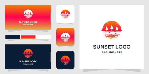 Plantilla de logotipo sunset