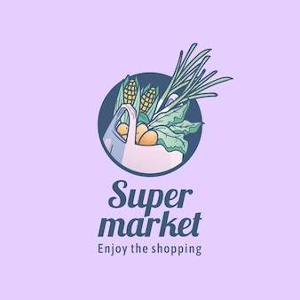 Plantilla de logotipo de supermercado con bolsa de compras