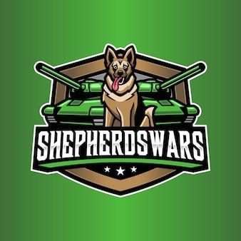 Plantilla de logotipo de tanque de perro