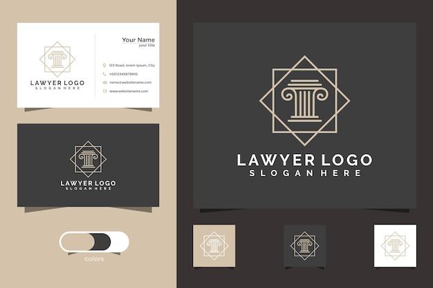 Plantilla de logotipo de tarjeta de abogado y tarjeta de visita
