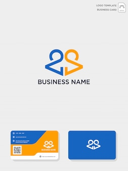Plantilla de logotipo y tarjeta de visita creativas iniciales de ca o ca