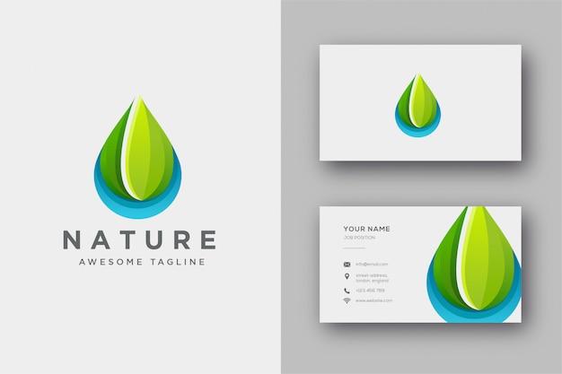 Plantilla de logotipo y tarjeta de visita de gotita de naturaleza