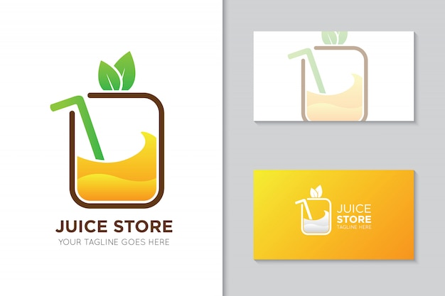 Plantilla de logotipo y tarjeta de visita de jugo