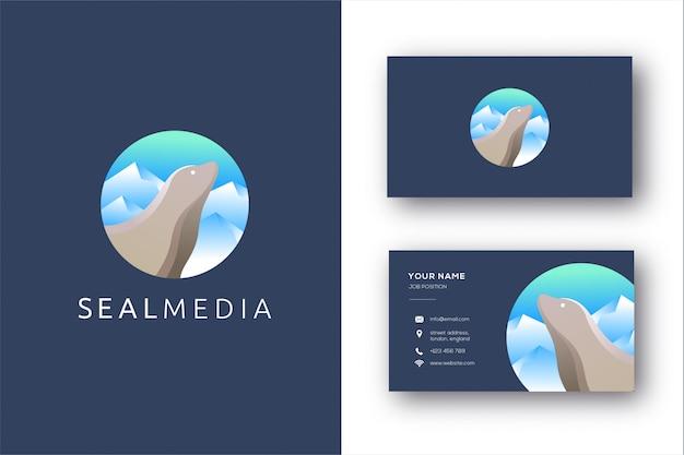 Plantilla de logotipo y tarjeta de visita de lobos marinos