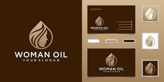 Plantilla de logotipo y tarjeta de visita de peluquería de aceite y hojas de mujer