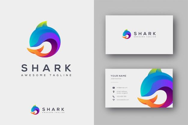 Plantilla de logotipo y tarjeta de visita de tiburón