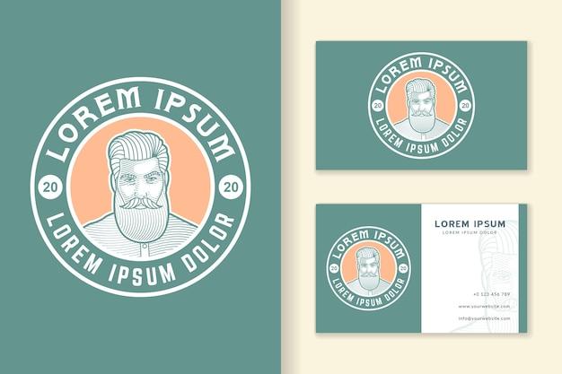 Plantilla de logotipo y tarjeta de visita vintage de hombre barbudo retro