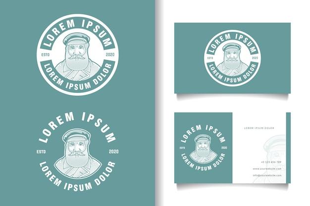 Plantilla de logotipo y tarjeta de visita vintage de hombre barbudo