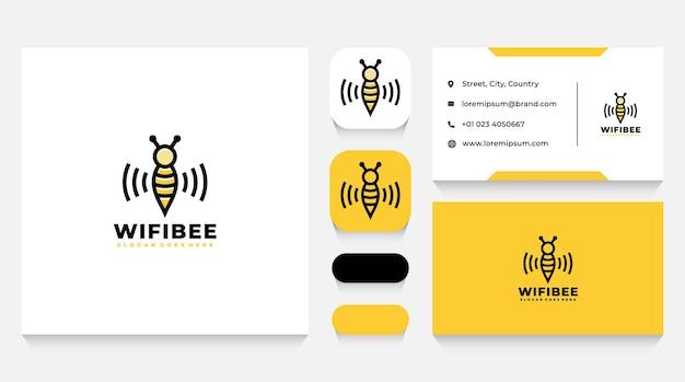 Plantilla de logotipo y tarjeta de visita de wifi bee