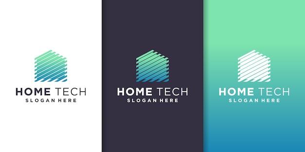 Plantilla de logotipo de tecnología para el hogar