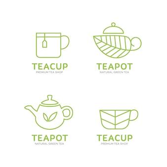 Plantilla de logotipo de tetera y taza de té