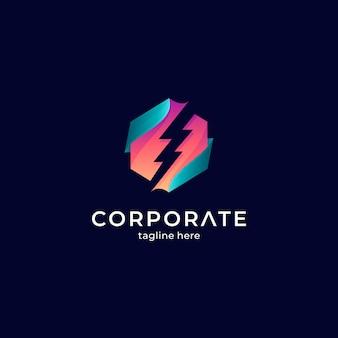 Plantilla de logotipo thunder en forma hexagonal con estilo de color degradado